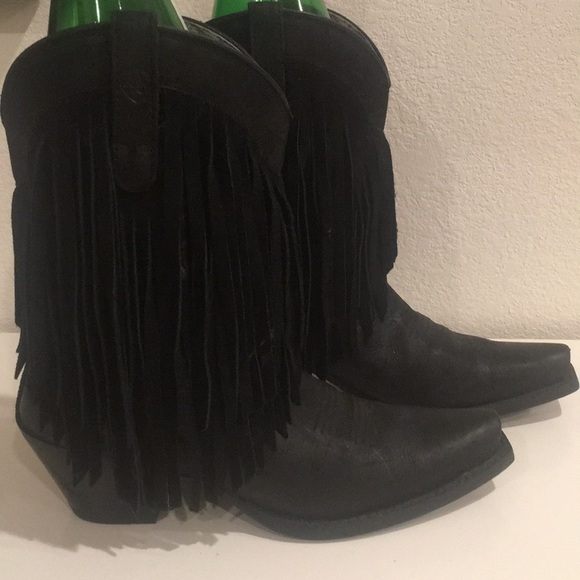 New Ariat Fringe Cowboy Boots Black
